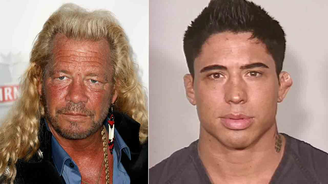 Dog The Bounty Hunter (left) is seen in this Sept. 24, 2008 file photo. War Machine (right) is seen in an undated booking photo.