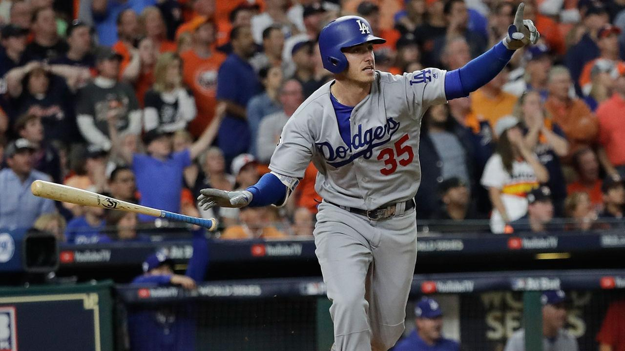 Cody Bellingers home run in the fifth inning was one of seven hit by the Dodgers and Astros combined in Game 5 of the World Series on Sunday, Oct. 29, 2017 in Houston.