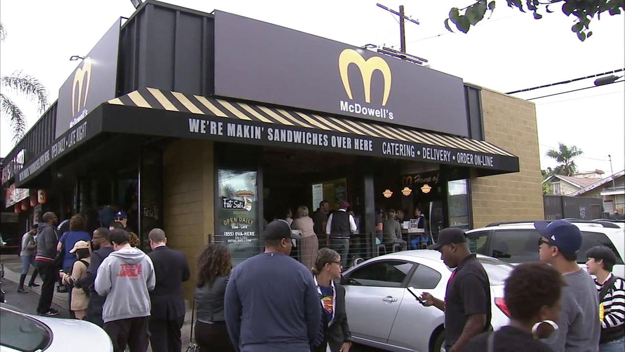 Fat Sals in Hollywood turned itself into McDowells for Halloween, and the line stretched out the door.