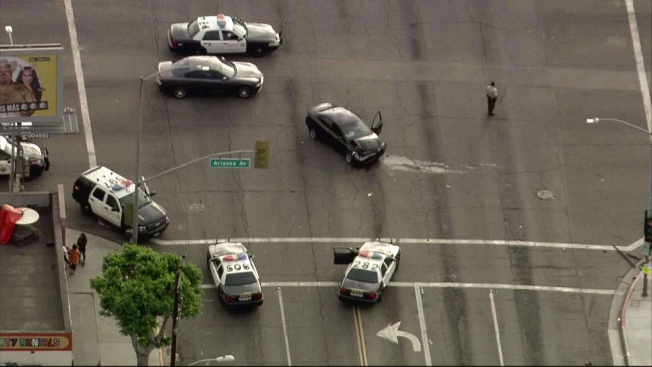 A Los Angeles County Sheriffs Department cruiser and a civilian vehicle collided at an intersection in East L.A. on Thursday, Nov. 2, 2017.