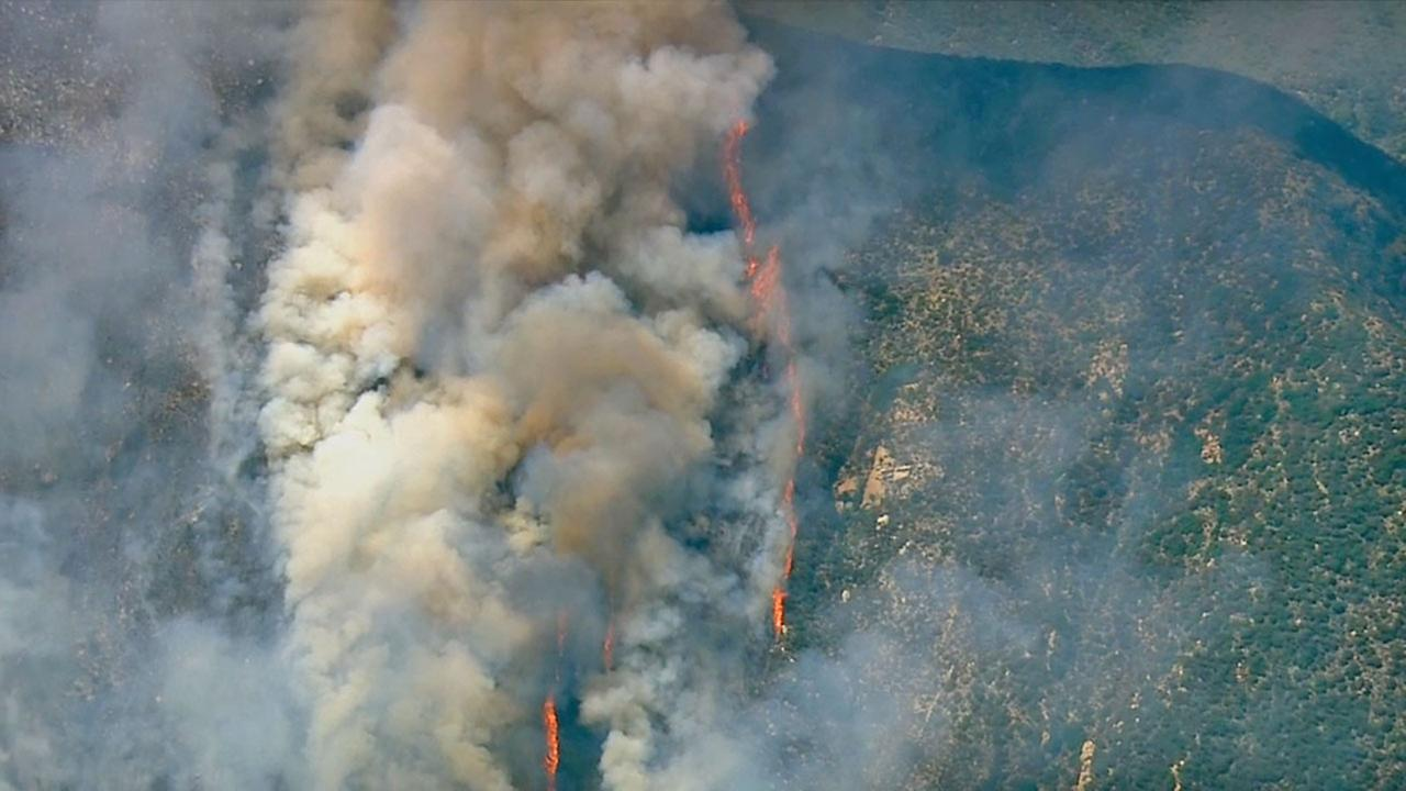 A brush fire erupted in the Angeles National Forest north of Glendora Thursday afternoon, August 14, 2014.