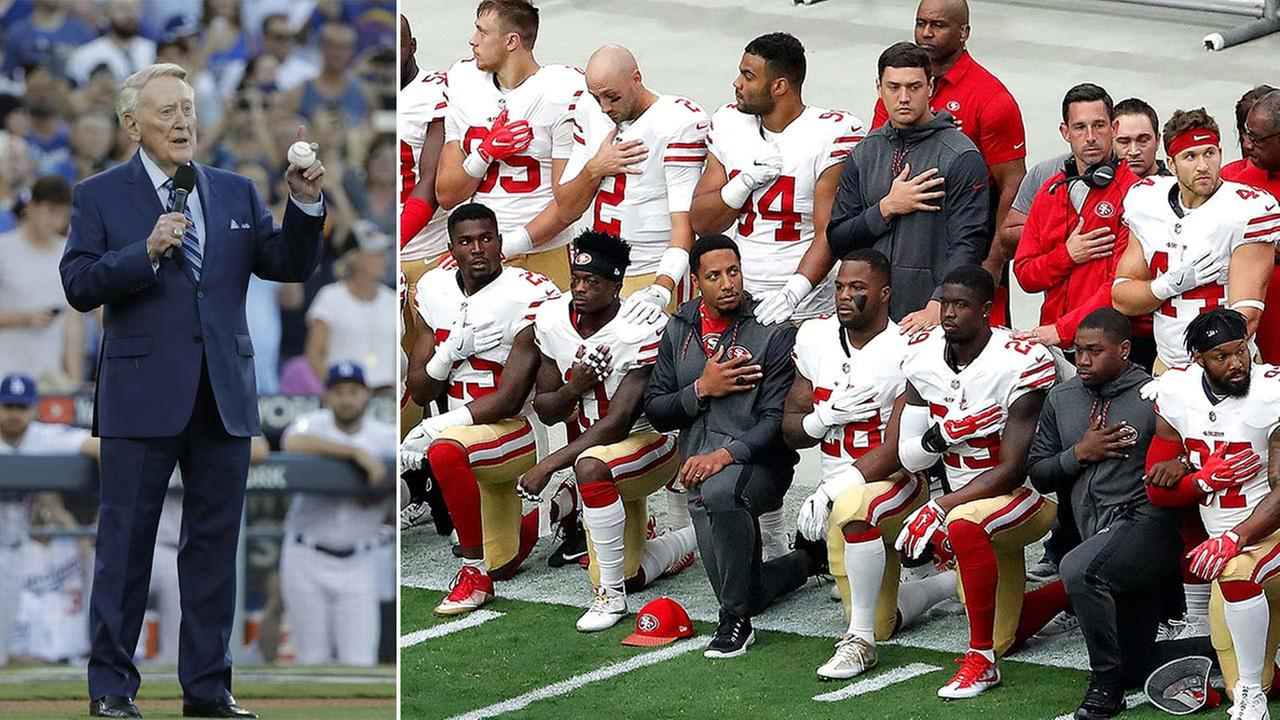 (Left) Vin Scully is seen before World Series Game 2 on Oct. 25, 2017. (Right) Members of the San Francisco 49ers kneel during the national anthem on Oct. 1, 2017. (AP Photos)