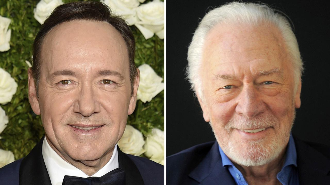 This photo shows Kevin Spacey at the Tony Awards in New York on June 11, 2017, left, and Christopher Plummer during a portrait session in Beverly Hills, Calif. on July 25, 2013.