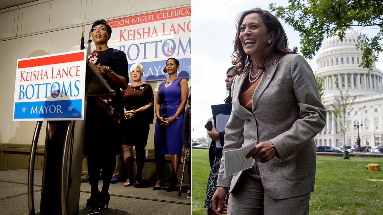 Atlanta mayoral candidate Keisha Lance Bottoms, left, speaks at an election night party. Sen. Kamala Harris, right, arrives at a rally of health care advocates in Washington, D.C.