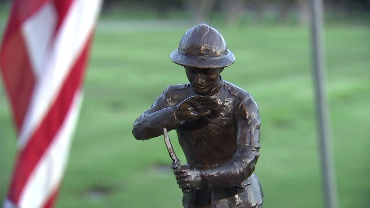 A bronze model of a proposed statue of World War I Sgt. Henry Johnson, who was honored at the Los Angeles National Cemetery in Westwood on Friday, Nov. 10, 2017.