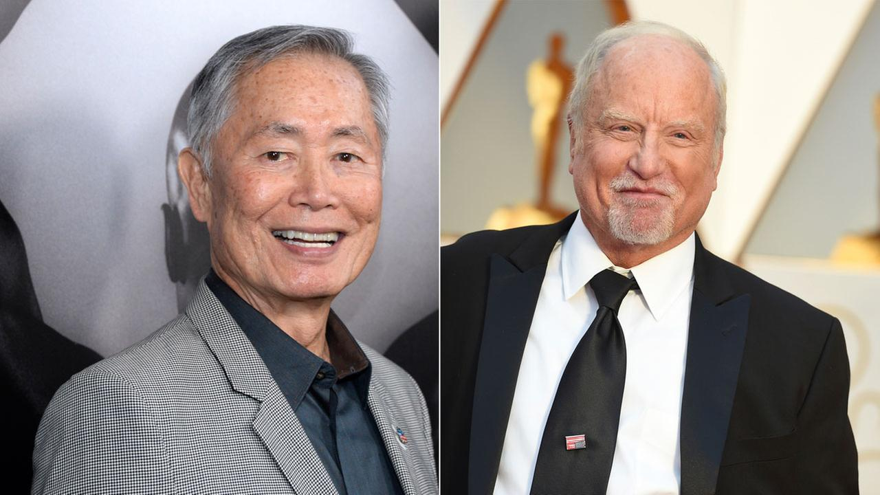 Actors George Takei and Richard Dreyfuss are shown in file AP images.