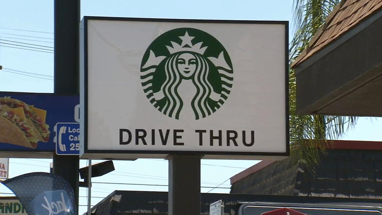 A Starbucks drive-thru sign in Highland Park is shown in this undated file photo.