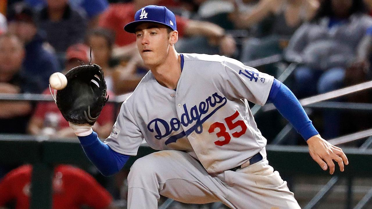 Los Angeles Dodgers first baseman Cody Bellinger (35) against the Arizona Diamondbacks during the second inning of game 3 of baseballs National League Division Series.