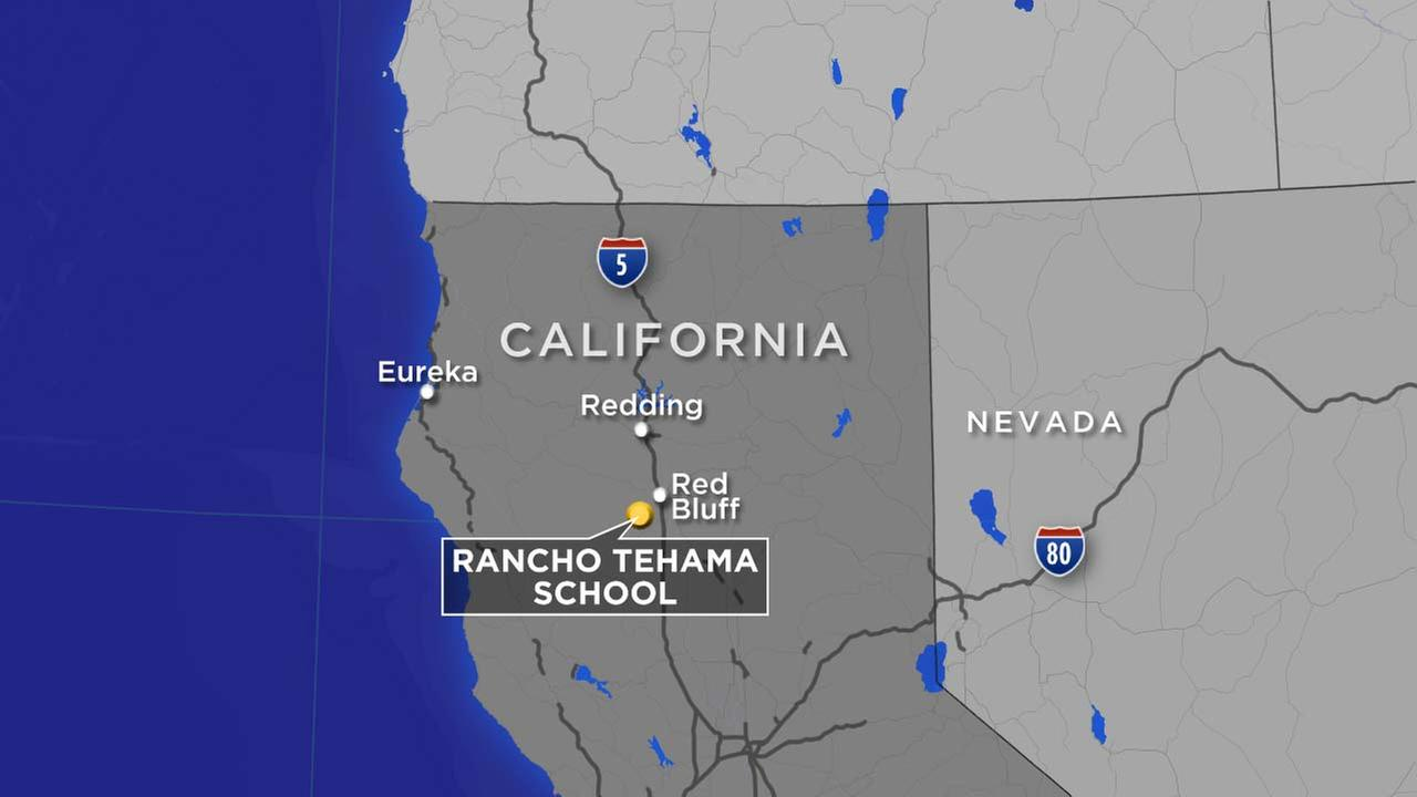 A map indicates the location of Rancho Tehama School in rural Northern California.