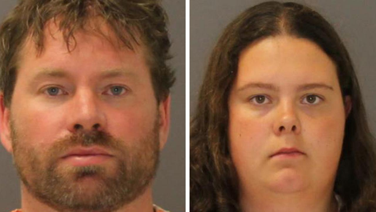 Booking photo of Stephen Howells II, left, and Nicole Vaise.