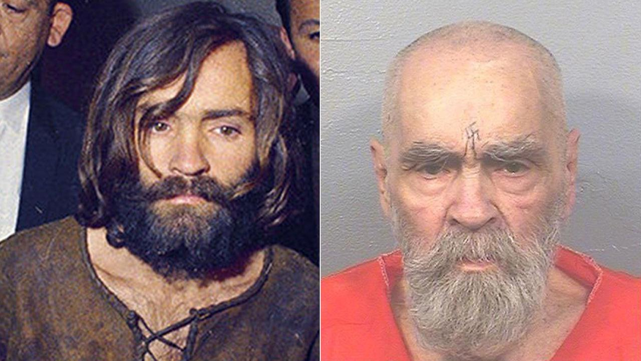Charles Manson, escorted by police in December 1969 (left) and in an Aug. 17, 2017 prison photo.