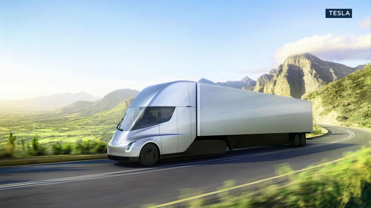 A rendering of the Tesla electric semi-truck is shown.