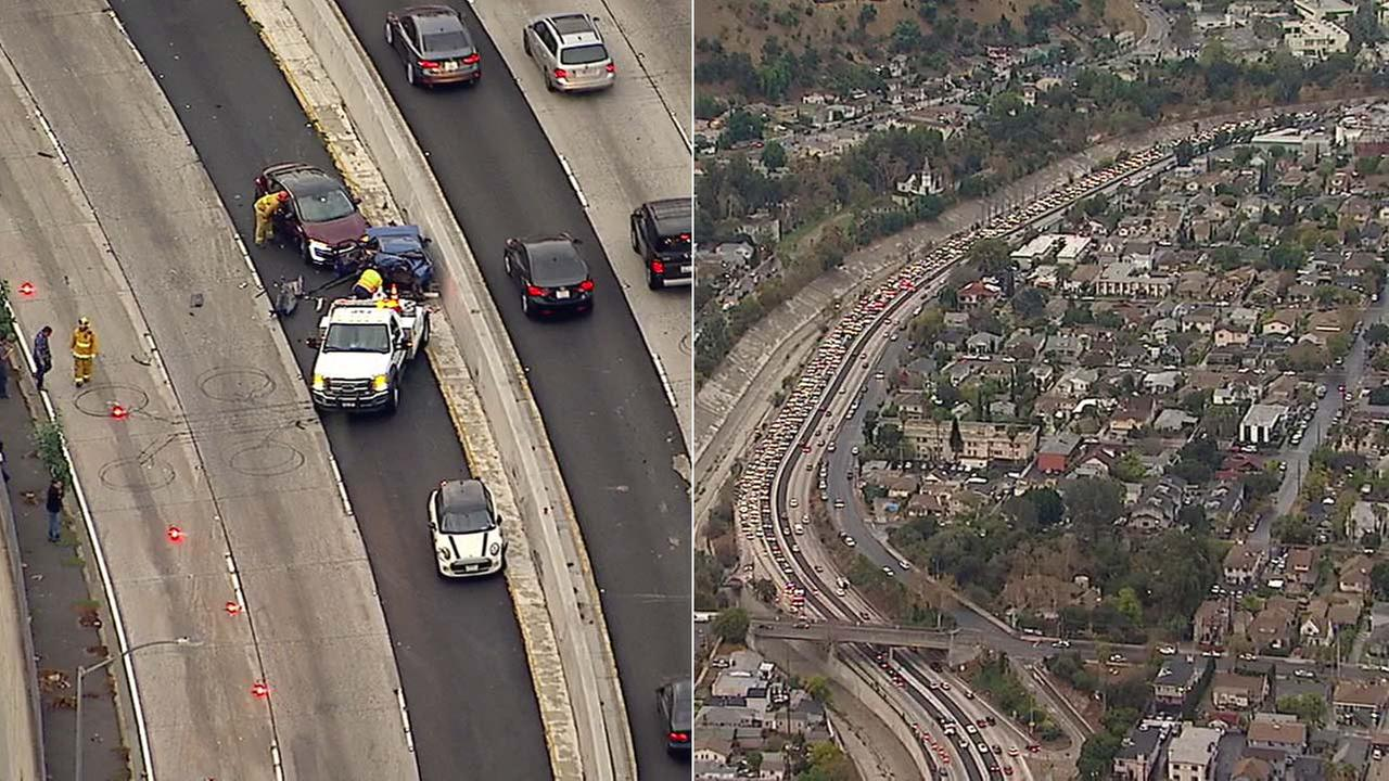 A crash on the 110 Freeway shut down all northbound lanes in Highland Park on Friday, Nov. 17, 2017.