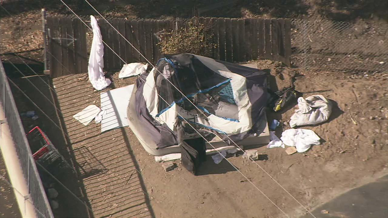 Homicide detectives were called to Van Nuys, where a body was found in a tent on Monday, Nov. 20, 2017.