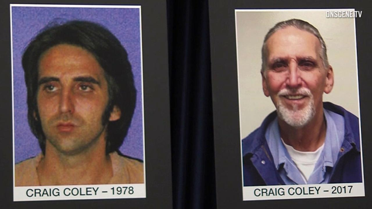 Photos at a press conference show Craig Coley in 1978 and in 2017. He was pardoned for a 1978 Simi Valley double murder after DNA tests showed he was probably innocent.