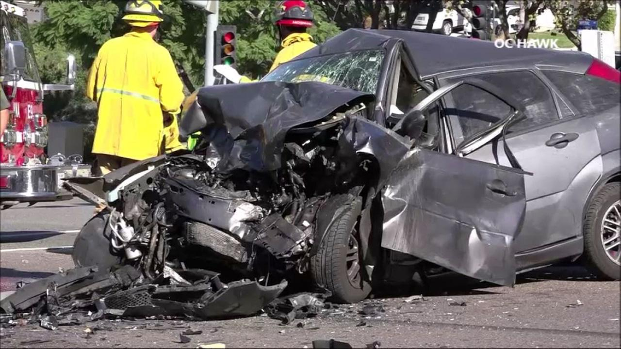 One person is dead and three others were transported to local hospitals after a chase ended in a head-on collision in Anaheim, authorities said.