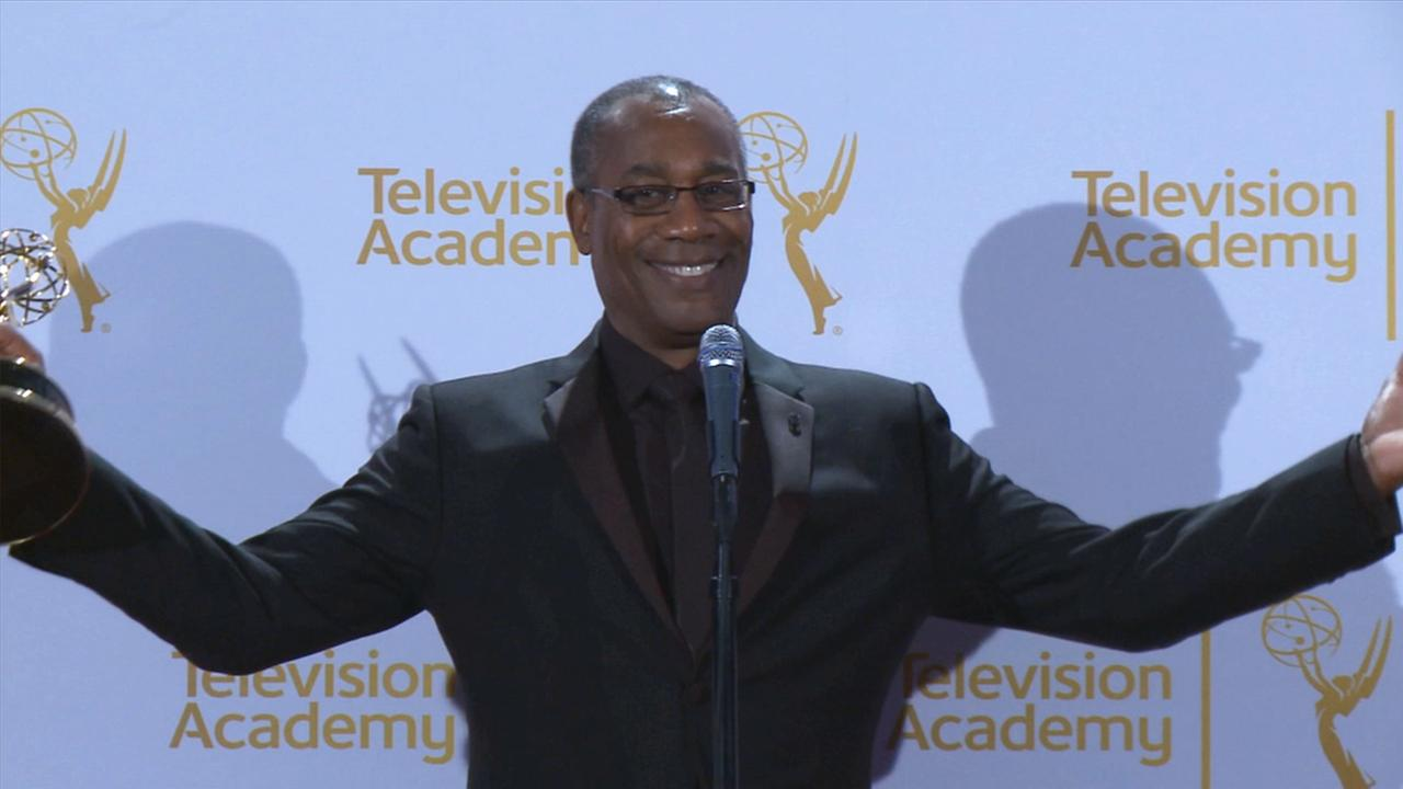 Joe Morton celebrates winning an Emmy for outstanding guest actor in a drama series for his portrayal of Rowan Pope on ABCs Scandal. Aug. 16, 2014