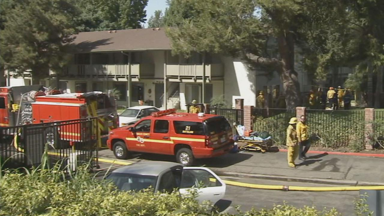 One person died and another was injured in an apartment fire on the 1400 block of S. Harbor Blvd. in La Habra Monday morning, August 18, 2014.