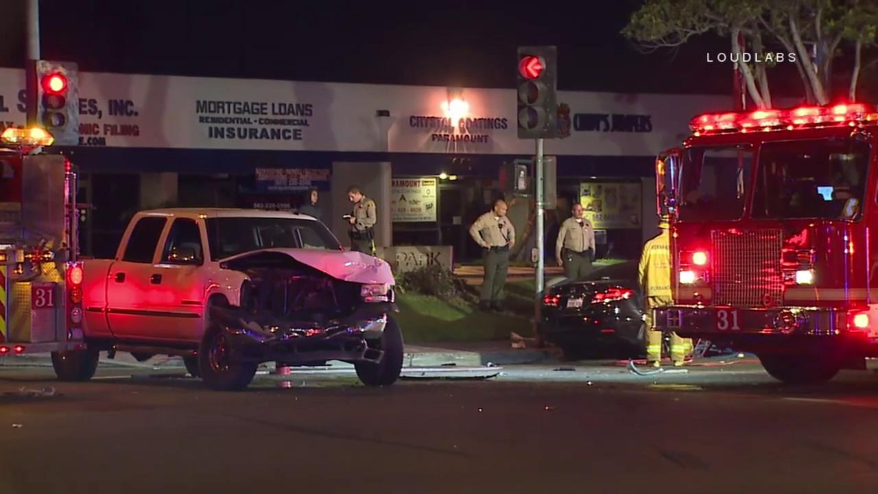 Los Angeles County sheriffs deputies and firefighter-paramedics responded after a fatal two-vehicle crash in Paramount on Saturday, Nov. 25, 2017.