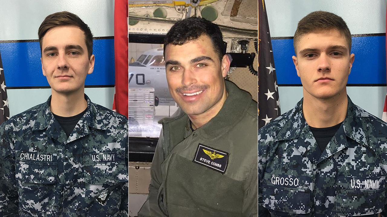 Airman Matthew Chialastri of Louisiana, left, Lt. Steven Combs of Florida, center, and Airman Apprentice Bryan Grosso of Florida are seen in photos released after their deaths.