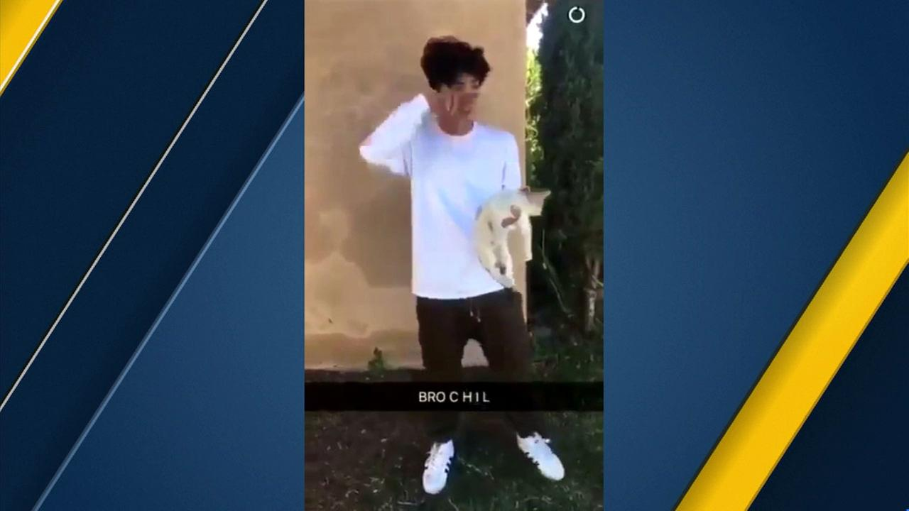 An apparent Snapchat video shows a boy flinging a cat onto the street in Ontario, an incident being investigated by police Saturday, Dec. 2, 2017.