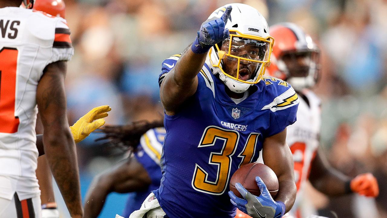 Chargers free safety Adrian Phillips celebrates his interception against the Cleveland Browns on Sunday, Dec. 3, 2017, in Carson.