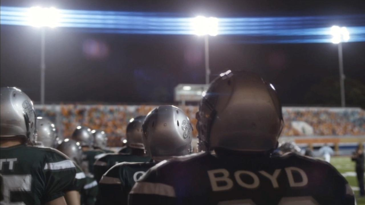 A scene from the movie When the Game Stands Tall, which chronicles the remarkable triumph and tragedy experienced by a high school football team in California.