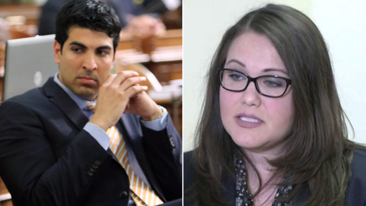 Assembly Matthew Dababneh, D-Encino, left, and Pamela Lopez, right, who accused him of sexual misconduct Monday, Dec. 4, 2017.