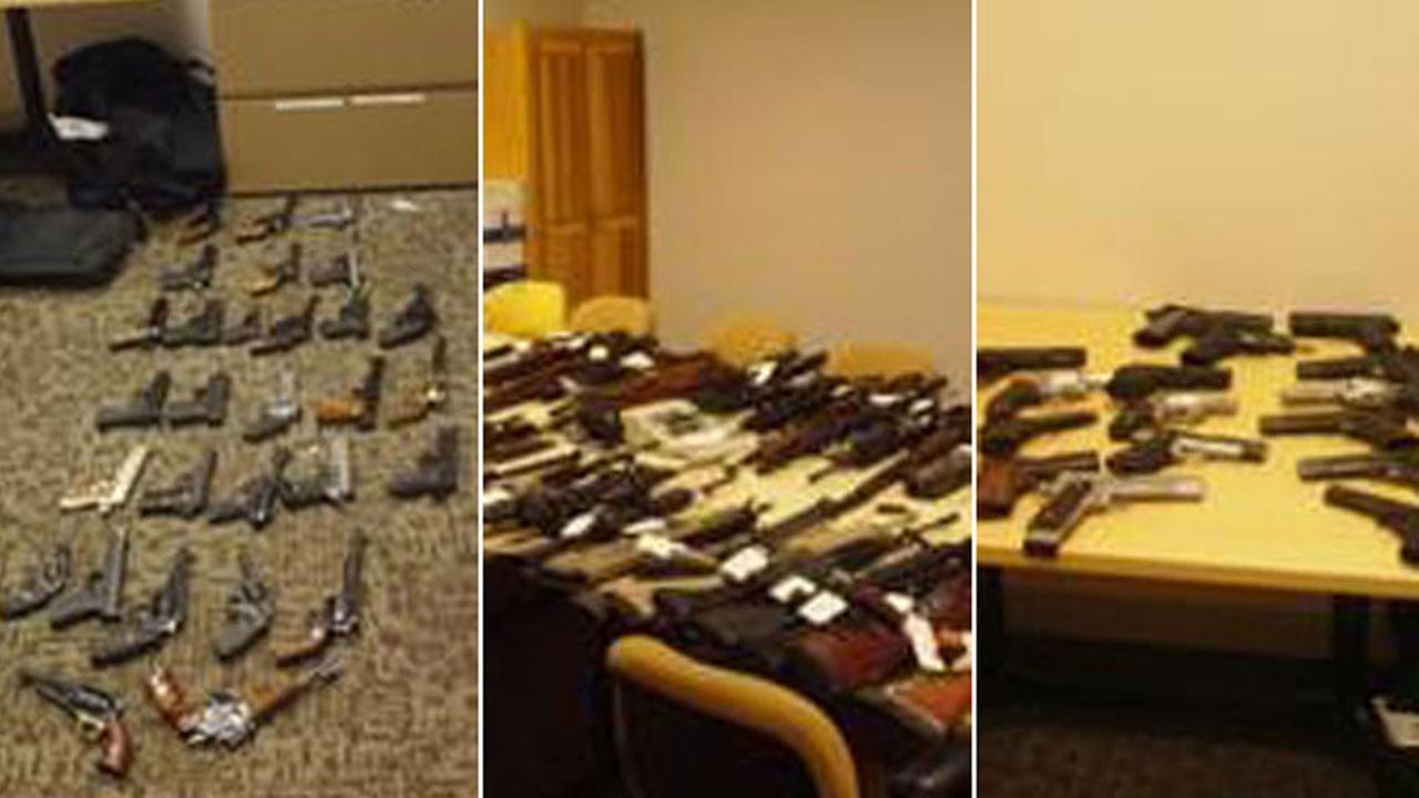 Nearly 150 guns and rifles seized by Santa Clarita Valley Sheriffs Station deputies after a barricade in Newhall on Wednesday, Dec. 6 2017.