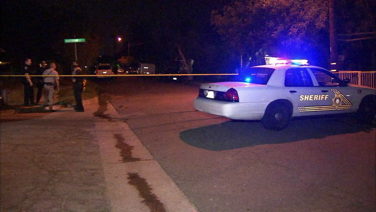 Authorities investigate an officer-involved shooting in San Bernardino on Friday, Aug. 22, 2014.