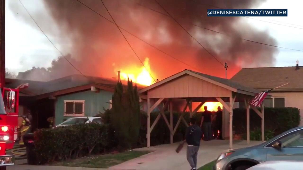 Blaze Erupts at Clairemont Home Following Plane Crash