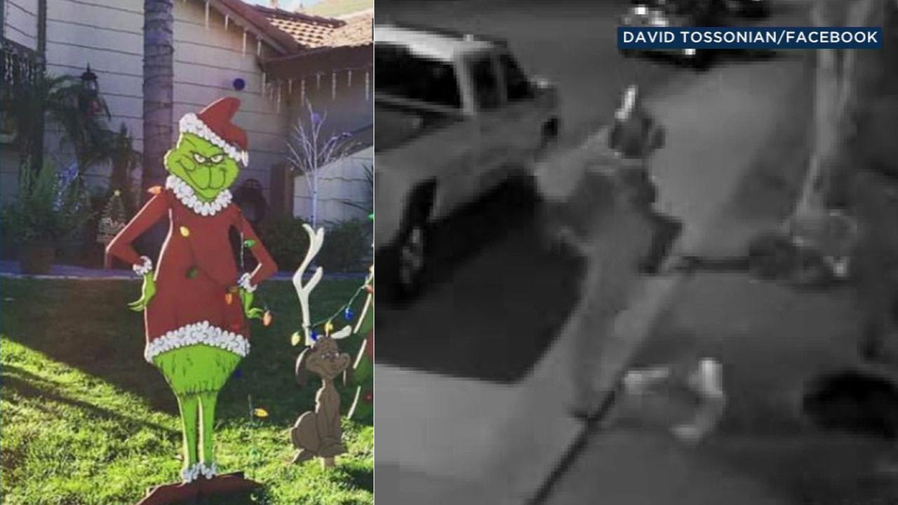 A handmade wooden cutout of the Grinch was stolen from a Riverside familys home.