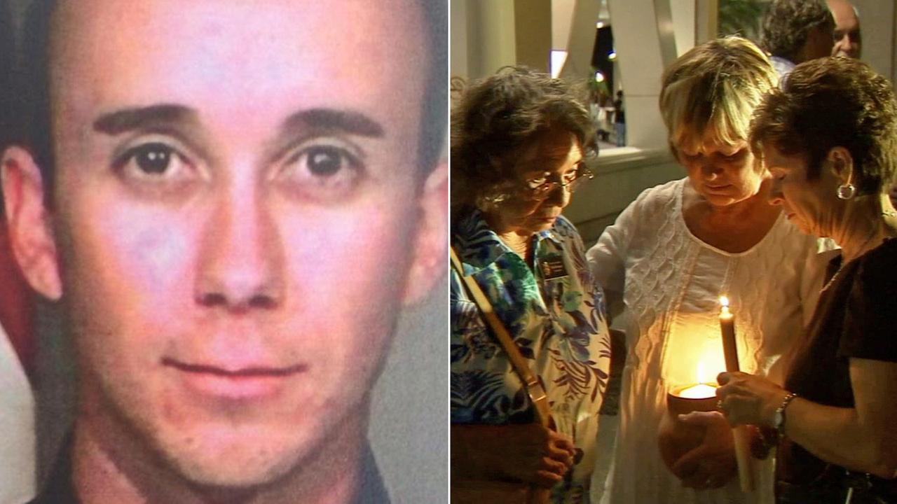 Left: San Bernardino police Officer Gabriel Garcia, 31, is seen. Right: Three women attend a vigil for Garcia outside the hospital Friday, Aug. 22, 2014.