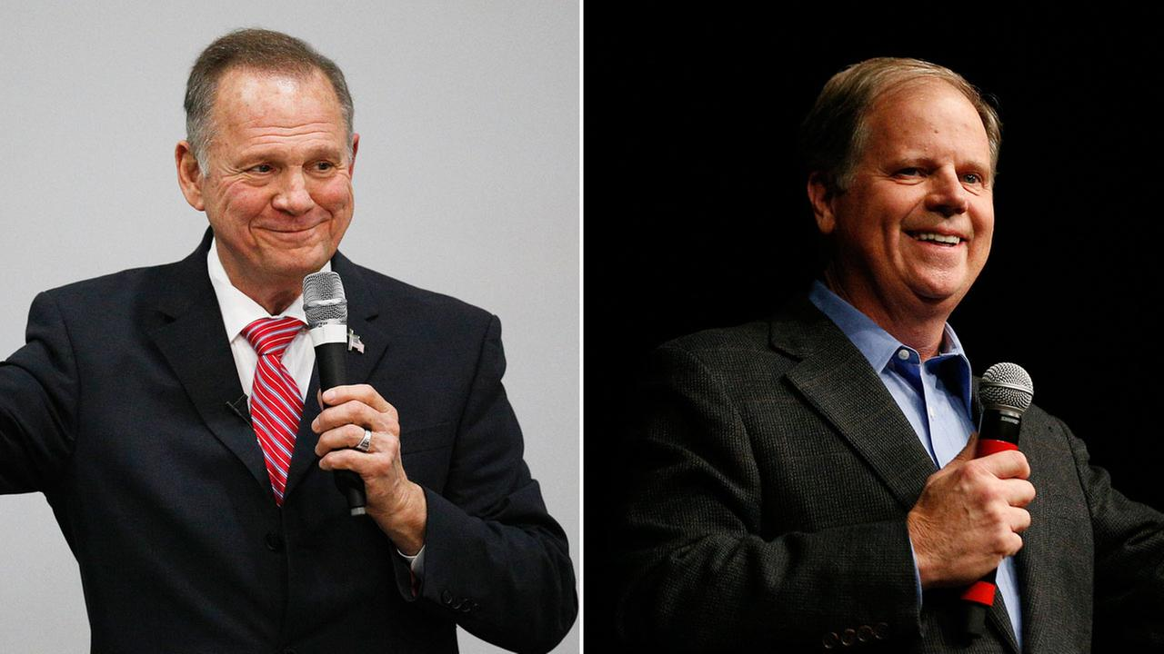 Republican U.S. Senate candidate Roy Moore (L) is shown alongside Democratic U.S. Senate candidate Doug Jones as they battle for the seat in Alabama.