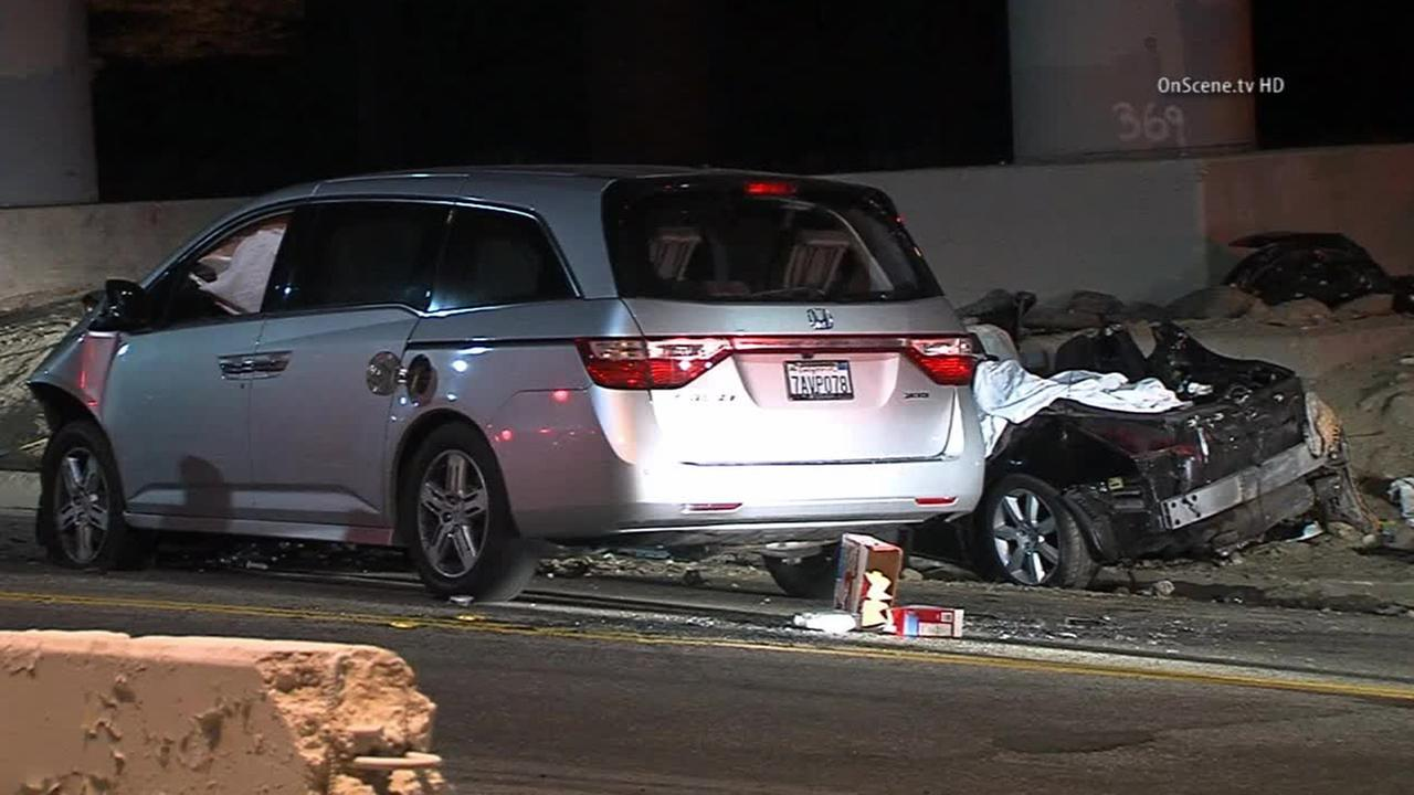 The wreckage from a crash in the 14700 block of San Fernando Road in Sylmar on Friday, Aug. 23, 2014 is shown.