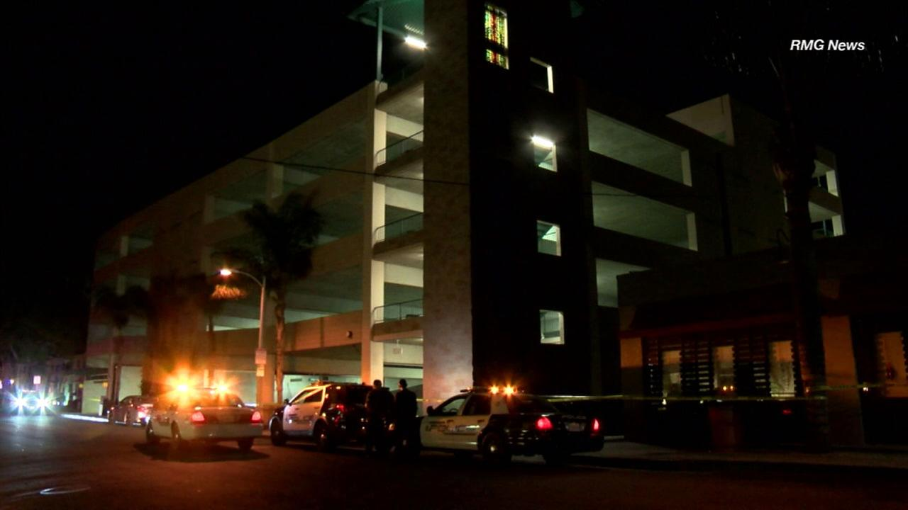 An Alhambra parking structure where a woman in her 30s fell to her death on Thursday, Dec. 14, 2017.