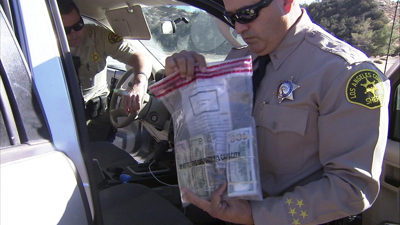 Los Angeles County sheriffs deputies confiscated about $20,000 in cash during a traffic stop.