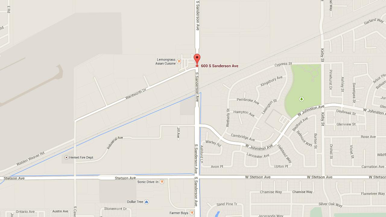 A map shows the 600 block of south Sanderson Avenue in Hemet where a pedestrian was hit and killed on Friday, Aug. 22, 2014.