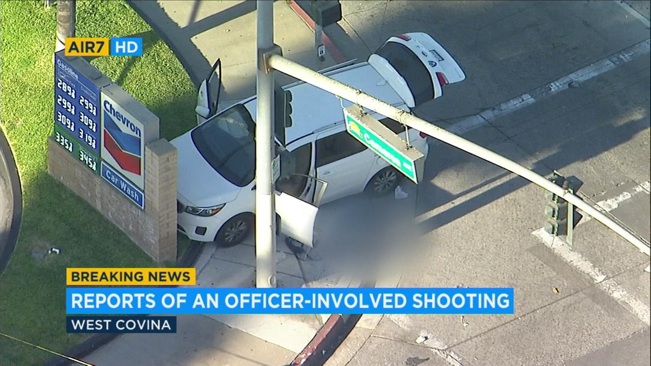 A burglary suspect was in unknown condition after an officer-involved shooting Friday afternoon in West Covina, authorities said.