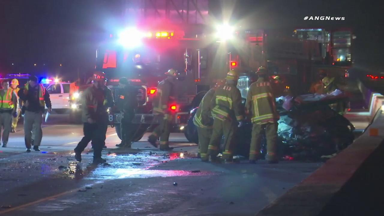 Four people were killed early Sunday morning in a two-vehicle crash involving a wrong-way driver on the 210 Freeway in Lake View Terrace, authorities said.