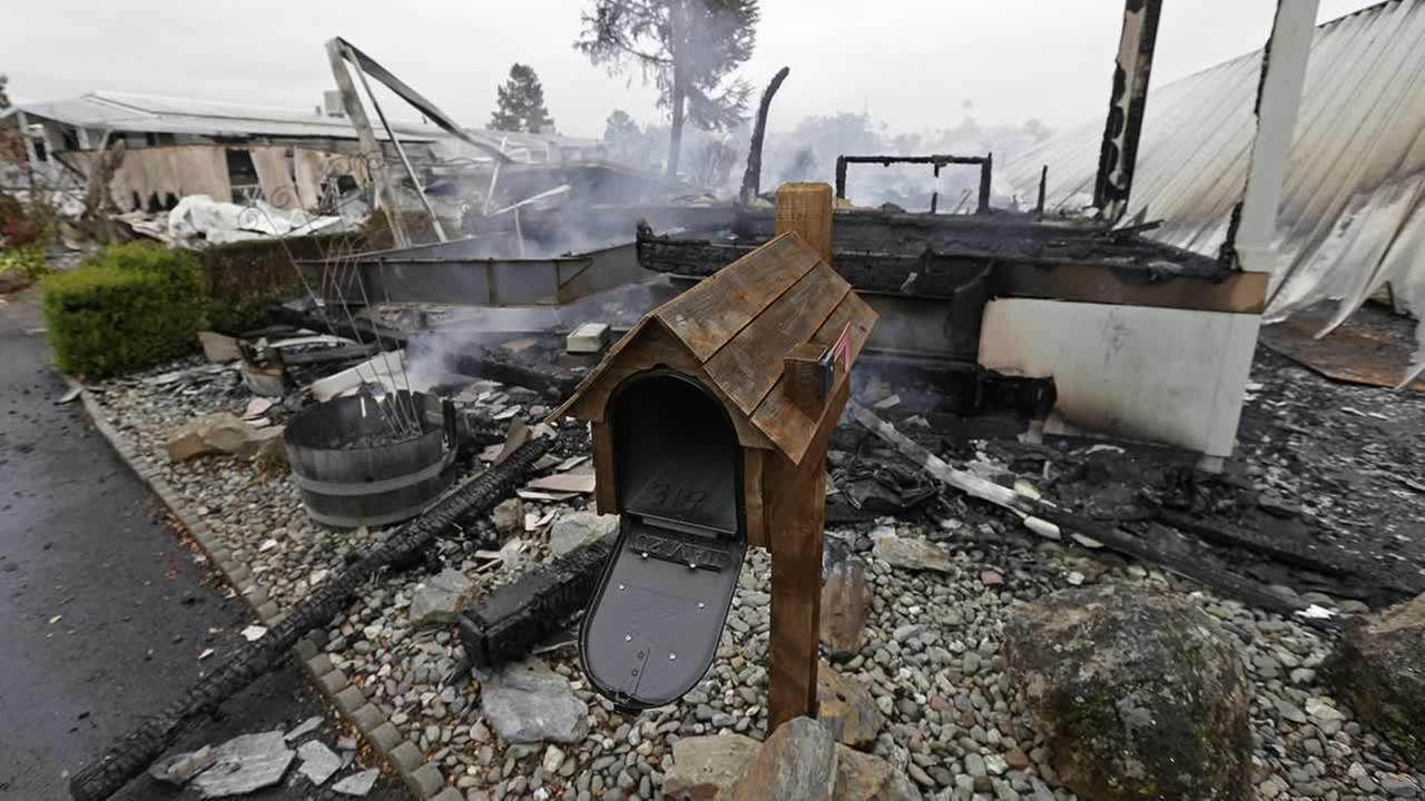 A mailbox is all that remains of one of four mobile homes which were destroyed in a gas fire Sunday, Aug. 24, 2014, at the Napa Valley Mobile Home Park, in Napa, Calif.Ben Margot