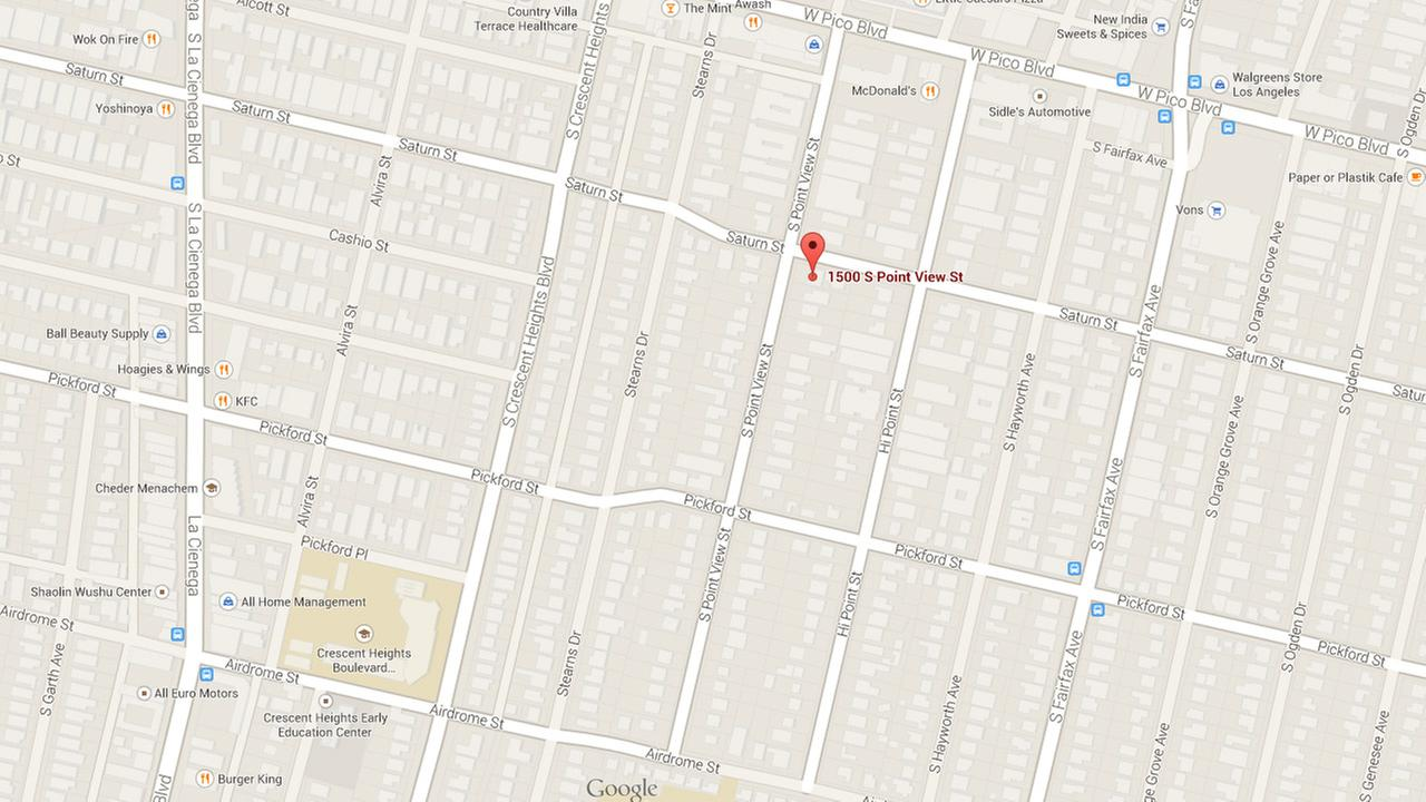 This Google Maps image shows the area where a house fire broke out in Los Angeles on Sunday, Aug. 24, 2014.