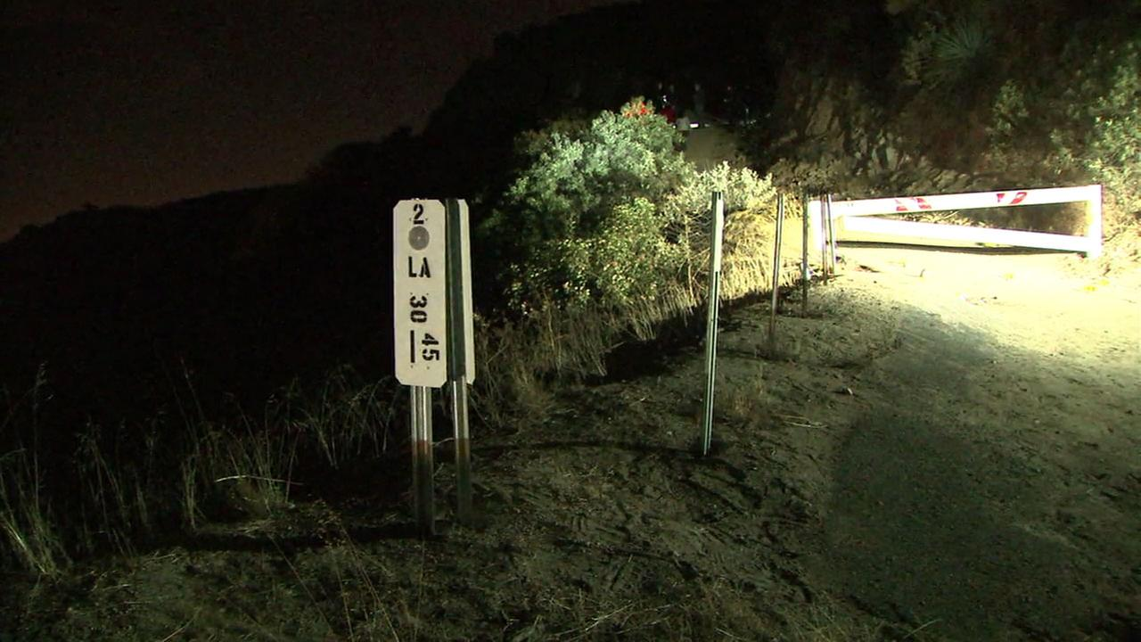 An area where authorities investigated the scene of a woman whose body was found in Angeles National Forest on Christmas Eve is shown.