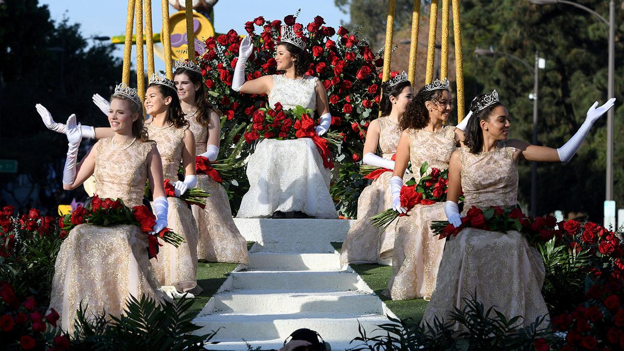 Rose Queen Isabella Marie Marez, top, and princesses from the Rose Parade Royal Court ride on their float at the 129th Rose Parade in Pasadena, Calif., Monday, Jan. 1, 2018. AP Photo/Michael Owen Baker