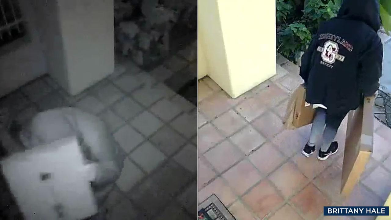 A package thief is shown returning Christmas gifts they stole from a Rancho Santa Margarita home on Dec. 31, 2017, alongside an image of when they stole the items on Dec. 21, 2017.