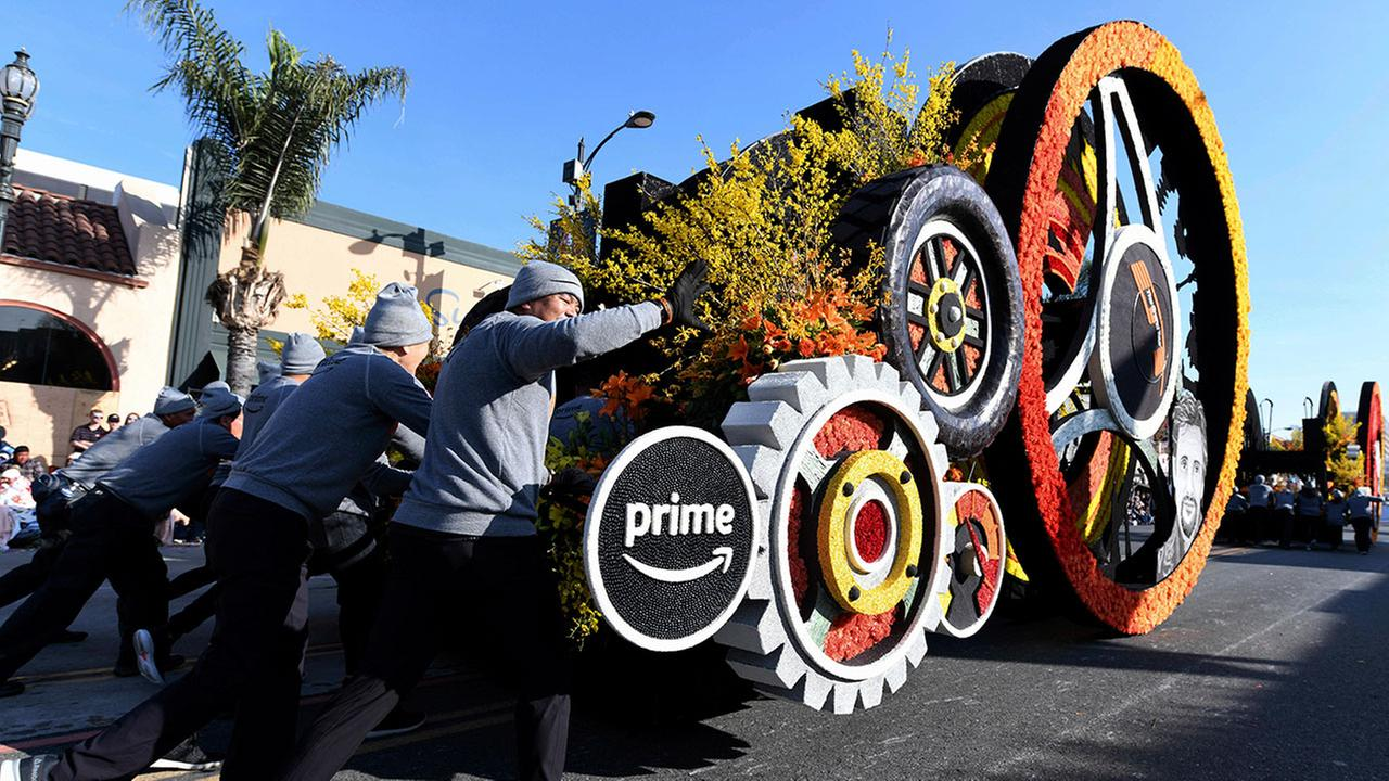 The Amazon Prime Original float is pushed along the parade route, winning the Crown City Innovator Award at the 129th Rose Parade in Pasadena, Calif., Monday, Jan. 1, 2018.AP Photo/Michael Owen Baker