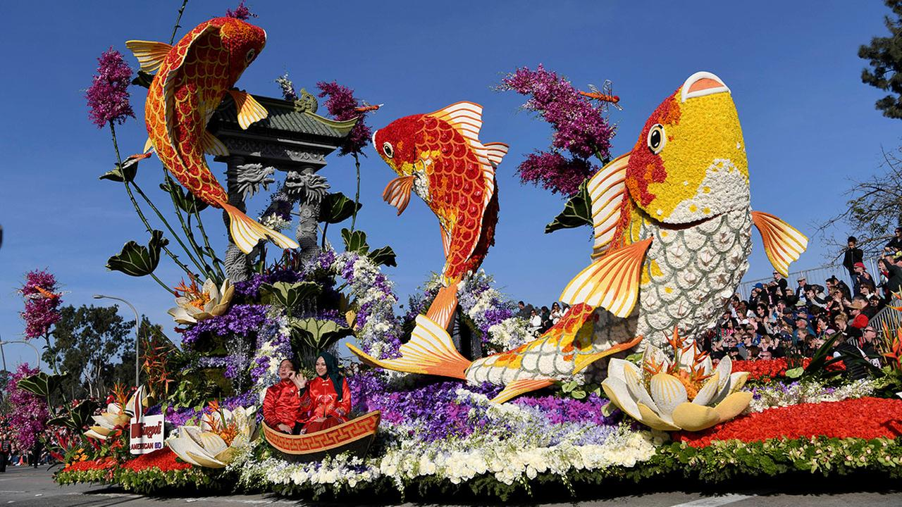 The Singpoli American BD float makes its way along the parade route at the 129th Rose Parade in Pasadena, Calif., Monday, Jan. 1, 2018. The float won the Sweepstakes Award. AP Photo/Michael Owen Baker