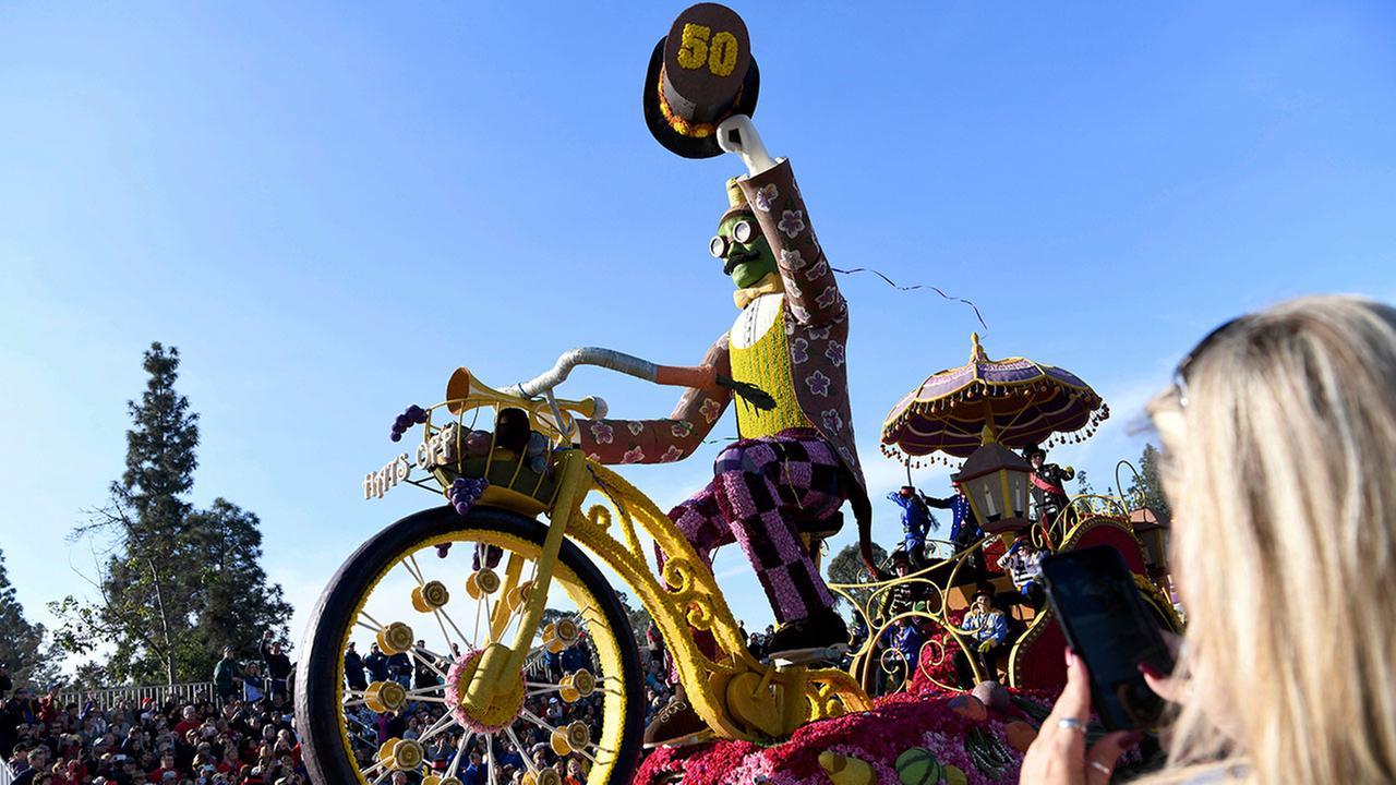 The Trader Joes float makes its way along the parade route at the 129th Rose Parade in Pasadena, Calif., Monday, Jan. 1, 2018. The float won the Showmanship Award.AP Photo/Michael Owen Baker