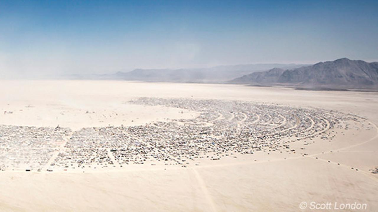 An aerial view of Black Rock City is seen in this photo from the Burning Man Facebook page.