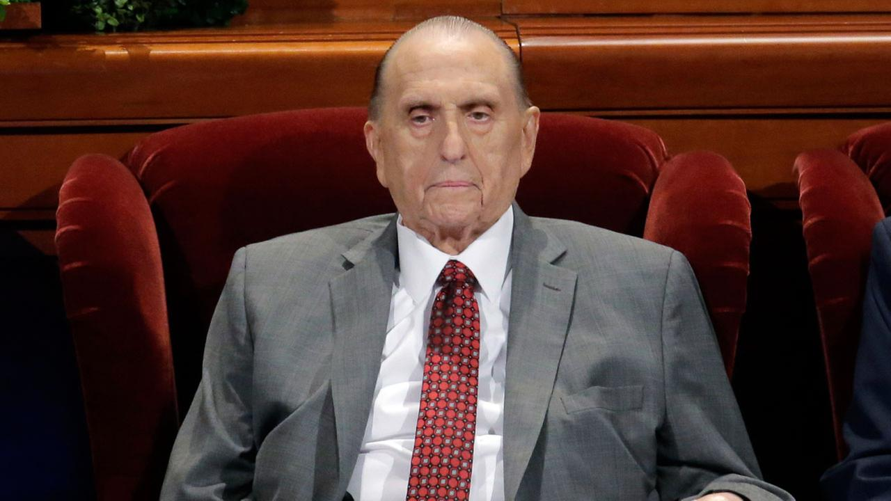 This April 1, 2017 file photo shows Thomas M. Monson, president of the Church of Jesus Christ of Latter-day Saints, at the two-day Mormon church conference in Salt Lake City.